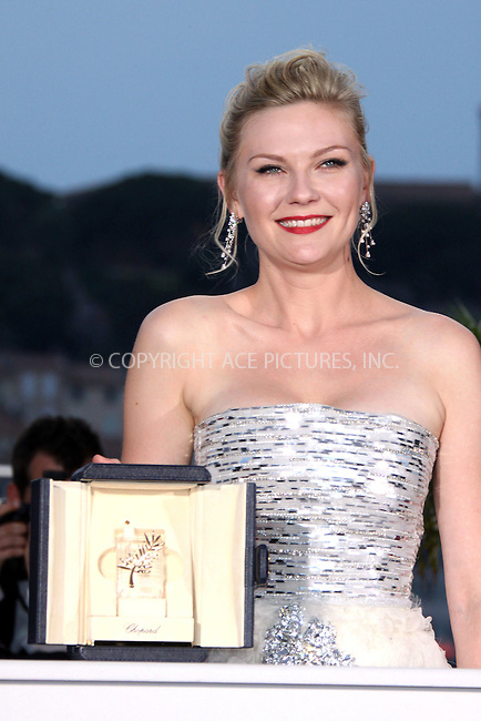 WWW.ACEPIXS.COM . . . . .  ..... . . . . US SALES ONLY . . . . .....May 22 2011, Cannes....US actress Kirsten Dunst at a photocall after being awarded with the Prix d'Interpretation Feminine (best actress) at the 64th Cannes Film Festival on May 22, 2011 in Cannes, France....Please byline: FAMOUS-ACE PICTURES... . . . .  ....Ace Pictures, Inc:  ..Tel: (212) 243-8787..e-mail: info@acepixs.com..web: http://www.acepixs.com