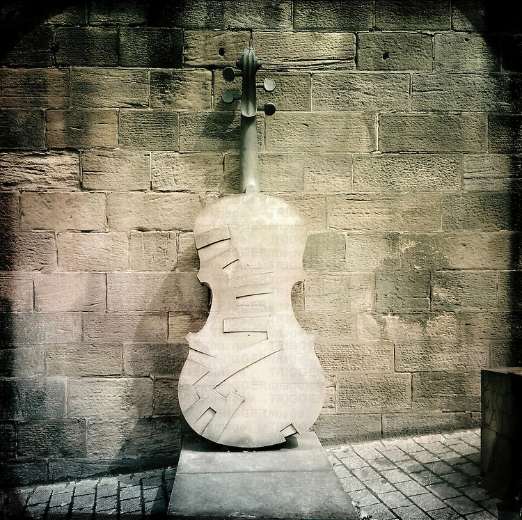 Double bass sculpture, Newcastle, UK