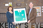 Past pupil Donal Spring Presented the first Jersey he wore as a  Irish  Rugby International  to the Principle of Listellick National School Annette Dineen to celebrate their 150 anniversary on Friday