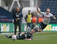 Preston North End's Tom Clarke is tackled by Newcastle United's Matty Longstaff<br /> <br /> Photographer Stephen White/CameraSport<br /> <br /> Football Pre-Season Friendly - Preston North End v Newcastle United - Saturday July 27th 2019 - Deepdale Stadium - Preston<br /> <br /> World Copyright © 2019 CameraSport. All rights reserved. 43 Linden Ave. Countesthorpe. Leicester. England. LE8 5PG - Tel: +44 (0) 116 277 4147 - admin@camerasport.com - www.camerasport.com