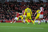 GOAL - Mathieu Debuchy of Arsenal scores the opening goal of the game during the UEFA Europa League match between Arsenal and FC BATE Borisov  at the Emirates Stadium, London, England on 7 December 2017. Photo by David Horn.