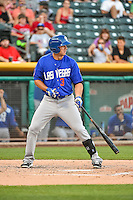 T.J. Rivera (3) of the Las Vegas 51s at bat against the Salt Lake Bees in Pacific Coast League action at Smith's Ballpark on June 25, 2015 in Salt Lake City, Utah.  Las Vegas defeated Salt Lake 20-8.  (Stephen Smith/Four Seam Images)