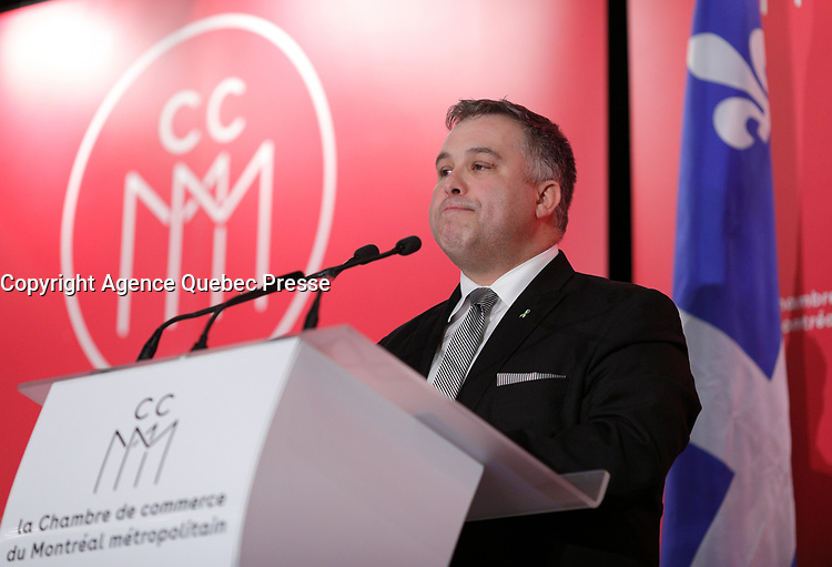 Conference de Sebastien Proulx, Ministre de l'Education, du Loisir et du Sport, Ministre responsable de la region de la Capitale-Nationale, a la tribune de la Chambre de Commerce du Montreal metropolitain, le Vendredi 16 février 2018, au Sheraton.<br /> <br /> PHOTO :  Agence Quebec Presse