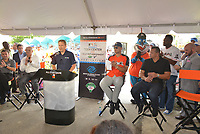 MIAMI, FL - JULY 11: Miami Marlins President David Sampson, MLB Commissioner Rob Manfred, VP and GM with Scotts Josh Peoples, Miami Marlin's Outfielder Giancarlo Stanton and Alex Rodriguez (A-Rod) attend the All-Star Week Legacy Project with A-Rod & Giancarlo Stanton at Boys & Girls Clubs of Miami-Dade on July 11, 2017 in Miami, Florida. Credit: MPI10 / MediaPunch