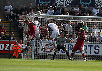 ATTENTION SPORTS PICTURE DESK<br /> Pictured: Andrea Orlandi of Swansea (C) heads the ball away to a corner kick for Bristol City during a free kick from the latter which saw Jamie McCombe of Bristol (L) close to an equaliser.<br /> Re: Coca Cola Championship, Swansea City FC v Bristol City FC at the Liberty Stadium Swansea, south Wales. Saturday 18 April 2009.<br /> Picture by D Legakis Photography / Athena Picture Agency, Swansea 07815441513