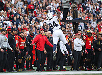 College Park, MD - November 25, 2017: Penn State Nittany Lions wide receiver Juwan Johnson (84) catches a pass during game between Penn St and Maryland at  Capital One Field at Maryland Stadium in College Park, MD.  (Photo by Elliott Brown/Media Images International)