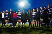 Bath Rugby players huddle together after the match. Anglo-Welsh Cup match, between Bath Rugby and Newcastle Falcons on January 27, 2018 at the Recreation Ground in Bath, England. Photo by: Patrick Khachfe / Onside Images
