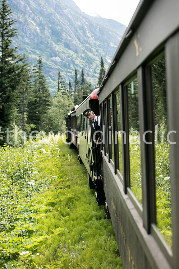 USA, Alaska, Sitka, one of the train conductors aboard the White Pass & Yukon Route Railroad from the town of Sitka up and into Canada