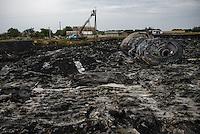 Crash site of flight MH17 Malaysian Airways Boeing 777, Hrabove, Eastern Ukraine.