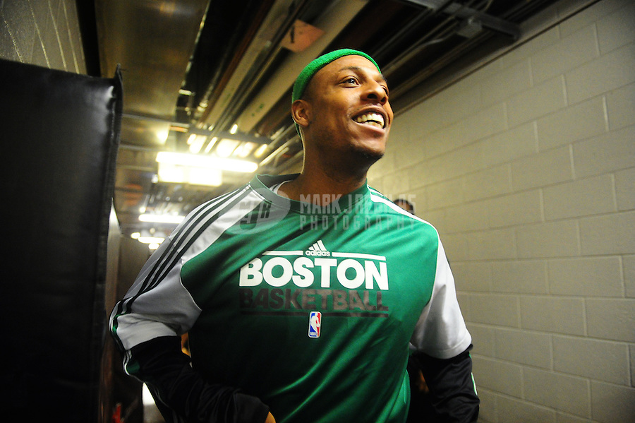 Jan. 28, 2011; Phoenix, AZ, USA; Boston Celtics forward Paul Pierce prior to the game against the Phoenix Suns at the US Airways Center. Mandatory Credit: Mark J. Rebilas-