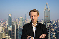 February 27, 2017, Shanghai, China - Fabian von Heimburg, 28, Co-founder and Managing Director of Hotnest Technology on the rooftop of his office building on West Nanjing Road. (Dave Tacon/Sinopix)