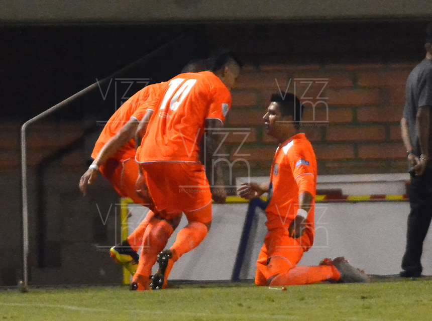 ENVIGADO- COLOMBIA, 03-03-2019.Yeison Guzman jugador del Envigado celebra después de anotar un gol al América de Cali durante partido por la fecha 8 de la Liga Águila I 2019 jugado en el estadio Polideportivo Sur de la ciudad de Medellín. /Yeison Guzman player of Envigado celebrates after scoring a goal agaisnt  of America of Cali during the match for the date 8 of the Liga Aguila I 2019 played at Polideportivo Sur stadium in Medellin  city. Photo: VizzorImage / Leon Monsalve/ Contribuidor
