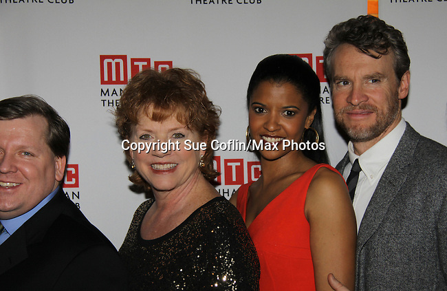 One Life To Live's Renee Elise Goldsberry poses with the cast Becky Ann Baker, Tate Donovan - Opening Night of Broadway's Good People on March 3, 2011 at the Samuel J. Friedman Theatre, New York City, New York with the after party was at B.B. Kings, NYC. (Photo by Sue Coflin/Max Photos)