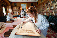BNPS.co.uk (01202 558833)<br /> Pic: PhilYeomans/BNPS<br /> <br /> Sarah-Jane Worrall - Quiet please - A low hiss of activity in the Green Library of Longleat.<br /> <br /> A crack team of vacuum wielding librarians have been hard at work this week cleaning the 40,000 books accumulated over 500 years in the 7 libraries of Longleat House in Wiltshire.<br /> <br /> It takes two teams of four staff 3-15 minutes to delicately hoover the dust from each book using specially adapted low suction vacumn cleaners, and as the library contains over 130 incunabula (books printed before 1500) concentration is vital.<br /> <br /> Originating in the 16th century the vast library also contains the first folio of Shakespeare along with the first cookbook written in English (Pynson-1500).<br /> <br /> The teams can only access the precious tomes at this time of year when the house is closed to the public during the week.