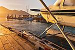 Tofino, British Columbia: Float plane at dawn - docked at Tofino harbor on Vancouver Island, Canada