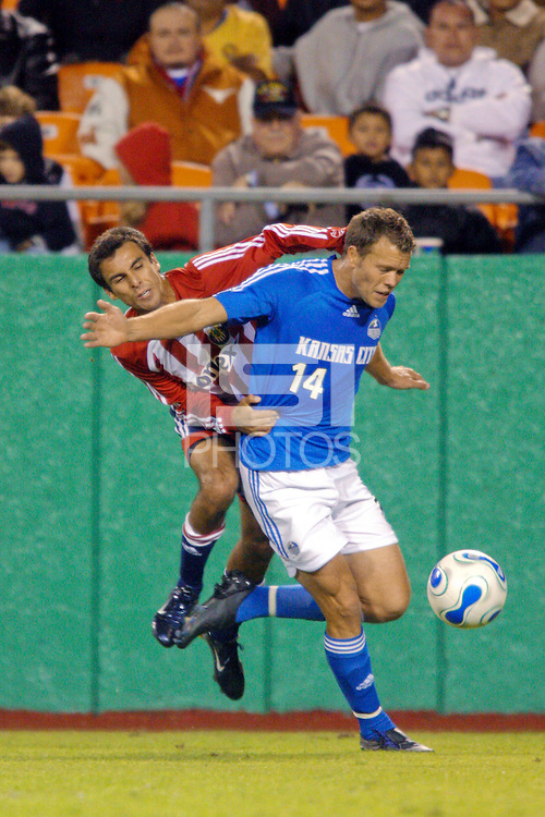 Jonathan Bonstein of Chivas USA and Jack Jewsbury of the KC Wizards. The Kansas City Wizards defeated CD Chivas USA 1-0 in the first leg of the Western Conference Semifinal Series at Arrowhead Stadium in Kansas City, MO on October 27, 2007.