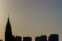 The distinctive NTT Docomo Tower in silhouette. Shinjuku, Tokyo, Japan. Friday May 25th 2018