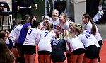 November 22, 2019; Rapid City, SD, USA; SIoux Falls Christian players get revved up before their game against Miller at the 2019 South Dakota State Volleyball Championships at the Rushmore Plaza Civic Center in Rapid City, S.D. (Richard Carlson/Inertia)