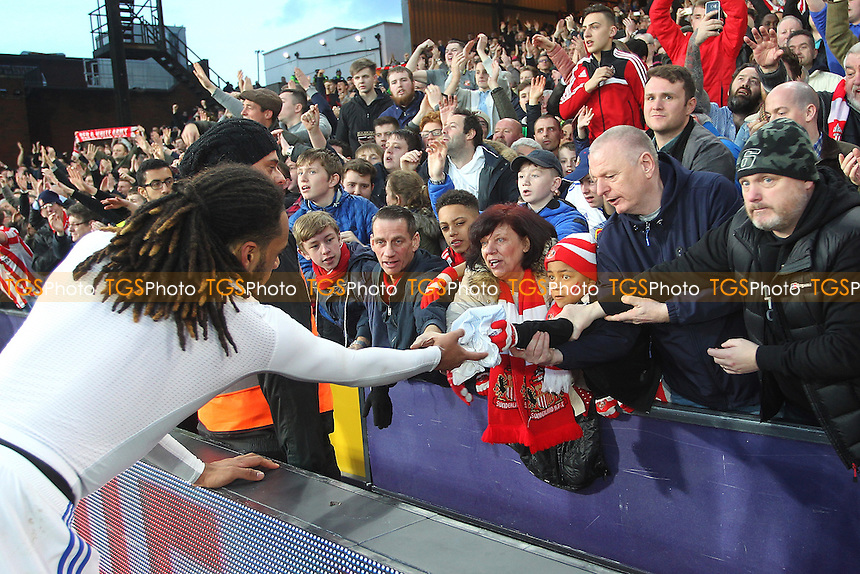 A young fan receives the shirt of Jason Denayer of Sunderland at the final whistle during Crystal Palace vs Sunderland AFC, Premier League Football at Selhurst Park on 4th February 2017