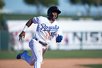 Surprise Saguaros center fielder Khalil Lee (15), of the Kansas City Royals organization, rounds third base during an Arizona Fall League game against the Salt River Rafters on October 9, 2018 at Surprise Stadium in Surprise, Arizona. Salt River defeated Surprise 10-8. (Zachary Lucy/Four Seam Images)