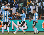 Argentina celebrate their first goal during the 2010 World Cup Soccer match between Argentina vs Korea Republic played at Soccer City in Johannesburg, South Africa on 17 June 2010.