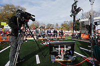 From left, David Pollack, Desmond Howard, Rece Davis, Lee Corso and Kirk Herbstreit broadcast from ESPN's College GameDay broadcast from the campus of Ohio State prior to the NCAA football game against the Michigan State Spartans in Columbus on Nov. 21, 2015. (Adam Cairns / The Columbus Dispatch)
