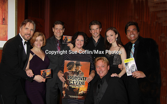 Bonnie & Clyde cast CD goes on sale tomorrow as the cast Leslie Becker, Victor Hernandez, Mimi Bessette, Claybourne Elder and Melissa van der Schyff perform along with Jazz Vocalist & producer Corey Brunish (L), Dale Badway (musical host) and Ken Lundie (musical director) support the Broadway Extravaganza to honor the Candidacy of Artist Jane Elissa for the Leukemia & Lymphoma Society, Man & Woman of the Year on April 23, 2012 at the New York Marriott Marquis, New York City, New York.  (Photo by Sue Coflin/Max Photos)