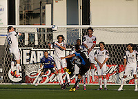 Real Salt Lake defenders try to block Arturo Alvarez's shot during the game at Buck Shaw Stadium in Santa Clara, California on March 27th, 2010.   Real Salt Lake defeated San Jose Earthquakes, 3-0.