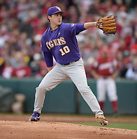 NWA Democrat-Gazette/ANDY SHUPE<br /> LSU starter Eric Walker delivers a pitch to the plate Friday, May 10, 2019, during the first inning against Arkansas at Baum-Walker Stadium in Fayetteville. Visit nwadg.com/photos to see more photographs from the game.