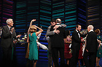 """Dick Latessa, Kristin Chenoweth, Sean Hayes, Neil Simon, Rob Ashford & Burt Bacharach<br />taking a bow on the  Opening Night Broadway performance Curtain Call for """"PROMISES, PROMISES"""" at the Broadway Theatre, New York City.<br />April 25, 2010"""