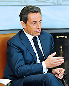 President Nicolas Sarkozy of France holds a bilateral meeting with United States President Barack Obama (not pictured) in the Oval Office of the White House in Washington, D.C. on Monday, January 10, 2011..Credit: Ron Sachs / Pool via CNP