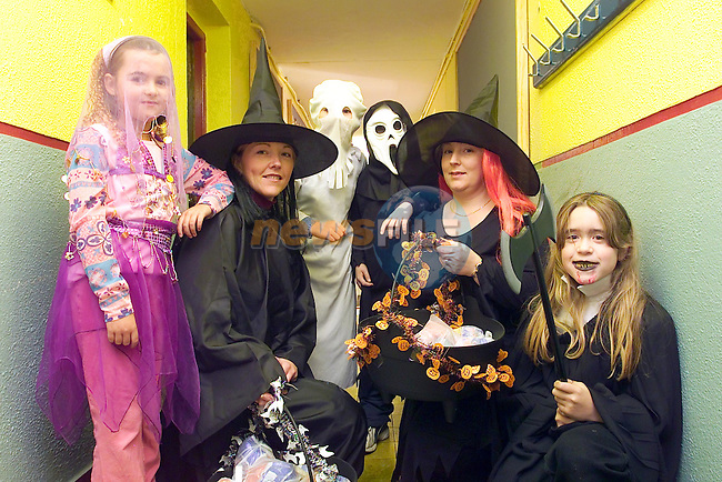 Mell Students, Heather Spratt, John reid, Andrew Stephenson and Julia Ashley all dressed up for Halloween with some of the School Witched..Picture Fran Caffrey Newsfile...This Picture is sent to you by:..Newsfile Ltd.The View, Millmount Abbey, Drogheda, Co Louth, Ireland..Tel: +353419871240.Fax: +353419871260.GSM: +353862500958.ISDN: +353419871010.email: pictures@newsfile.ie.www.newsfile.ie