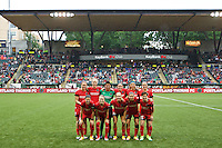 Portland, Oregon - Saturday May 21, 2016: Portland Thorns FC Starting XI. The Portland Thorns play the Washington Spirit during a regular season NWSL match at Providence Park.