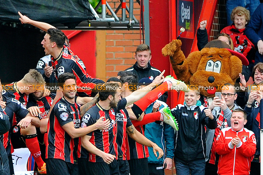 Tommy Elphick of AFC Bournemouth left celebrates the goal scored by Harry Arter of AFC Bournemouth middle - AFC Bournemouth vs Middlesbrough - Sky Bet Championship Football at the Goldsands Stadium, Bournemouth, Dorset - 21/03/15 - MANDATORY CREDIT: Denis Murphy/TGSPHOTO - Self billing applies where appropriate - contact@tgsphoto.co.uk - NO UNPAID USE
