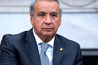 Ecuadorian President Lenin Moreno listens to US President Donald J. Trump (not pictured) speak to the media in the Oval Office of the White House in Washington, DC, USA, 12 February, 2020. The President used the opportunity to double down on his criticism of the Justice Departmentís proposed sentence of Roger Stone.<br /> Credit: Jim LoScalzo / Pool via CNP/AdMedia
