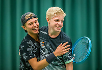 Wateringen, The Netherlands, December 15,  2019, De Rhijenhof , NOJK juniors doubles , Final boys 14 years, winners Lars Wagenaar (NED) and Jay Temming (NED) (L) celebrate at matchpoint, <br /> Photo: www.tennisimages.com/Henk Koster
