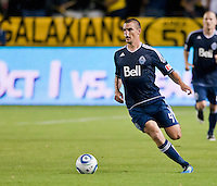 CARSON, CA - September 17, 2011: Vancouver Whitecaps defender Alain Rochat (4) during the match between LA Galaxy and Vancouver Whitecaps at the Home Depot Center in Carson, California. Final score LA Galaxy 3, Vancouver Whitecaps 0.