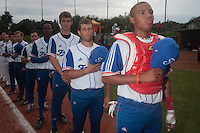 18 August 2010: Andy Paz, Brice Lorienne, Simon Vicente, Jean Antonio Samer are seen during the national anthem prior to the France 7-3 win over Ukraine, at the 2010 European Championship, under 21, in Brno, Czech Republic.