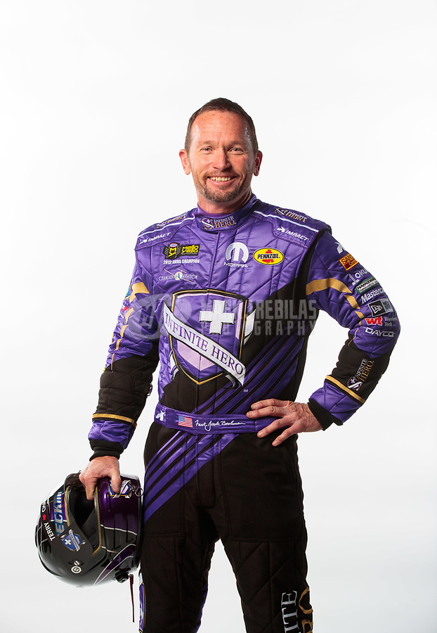 Feb 6, 2019; Pomona, CA, USA; NHRA funny car driver Jack Beckman poses for a portrait during NHRA Media Day at the NHRA Museum. Mandatory Credit: Mark J. Rebilas-USA TODAY Sports