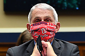 Dr. Anthony Fauci, Director of the National Institute for Allergy and Infectious Diseases, National Institutes of Health, wears his Washington Nationals mask as he testifies during a US House Energy and Commerce Committee hearing on the Trump Administration's Response to the COVID-19 Pandemic, on Capitol Hill in Washington, DC on Tuesday, June 23, 2020. <br /> Credit: Kevin Dietsch / Pool via CNP