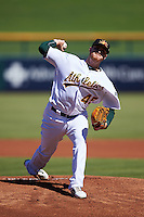 Mesa Solar Sox pitcher Dylan Covey (45), of the Oakland Athletics organization, during a game against the Surprise Saguaros on October 14, 2016 at Sloan Park in Mesa, Arizona.  Mesa defeated Surprise 10-4.  (Mike Janes/Four Seam Images)