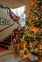 Decorated Lit Xmas Tree, Stairway, Pasadena Tournament House