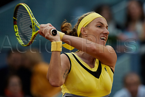 May 12th 2017, Caja Magica, Madrid, Spain; Mutua Madrid Open tennis tournament; Svetlana Kuznetsova of Russia in action as she loses against Kristina Mladenovic of France in 2 sets