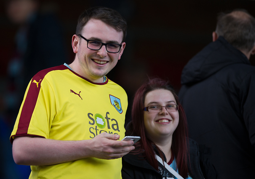 Burnley fans at Selhurst Park<br /> <br /> Photographer Ashley Western/CameraSport<br /> <br /> The Premier League - Crystal Palace v Burnley - Wednesday 26th April 2017 - Selhurst Park - London<br /> <br /> World Copyright &not;&copy; 2017 CameraSport. All rights reserved. 43 Linden Ave. Countesthorpe. Leicester. England. LE8 5PG - Tel: +44 (0) 116 277 4147 - admin@camerasport.com - www.camerasport.com