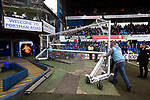 Two members of the ground staff taking the practice goals away before Ipswich Town play Oxford United in a SkyBet League One fixture at Portman Road. Both teams were in contention for promotion as the season entered its final months. The visitors won the match 1-0 through a 44th-minute Matty Taylor goal, watched by a crowd of 19,363.
