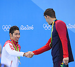 (L-R) Kosuke Hagino (JPN), Michael Phelps (USA), <br /> AUGUST 11, 2016 - Swimming : <br /> Men's 200m Individual Medley Medal Ceremony  <br /> at Olympic Aquatics Stadium <br /> during the Rio 2016 Olympic Games in Rio de Janeiro, Brazil. <br /> (Photo by Yohei Osada/AFLO SPORT)
