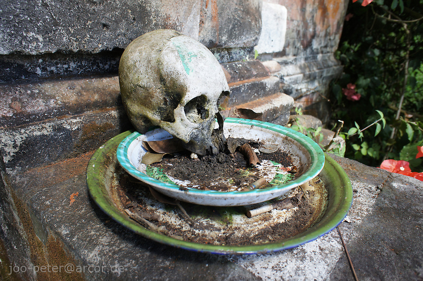 skull and plate at the entrance of forest cemetery of Bali Aga people, Trunyan village at Lake Batur, vulcano Mount Batur, Bali,  archipelago Indonesia