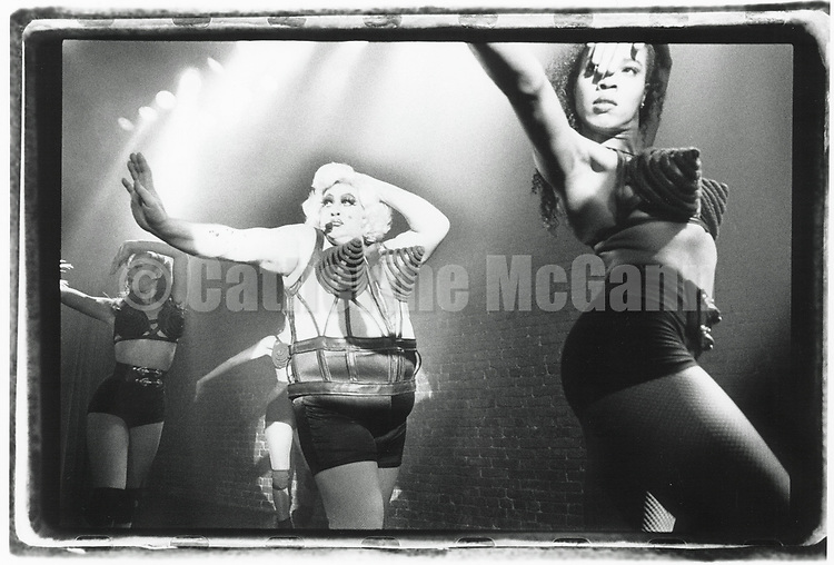 """1990s:  Madonna impersonator Queerdonna (Greg Gostanian) performs Madonna's song """"Vogue"""" in New York City."""