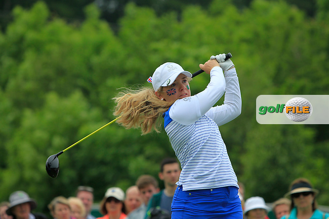 Bronte Law on the 7th tee during the Friday afternoon Fourballs of the 2016 Curtis Cup at Dun Laoghaire Golf Club on Friday 10th June 2016.<br /> Picture:  Golffile   Thos Caffrey