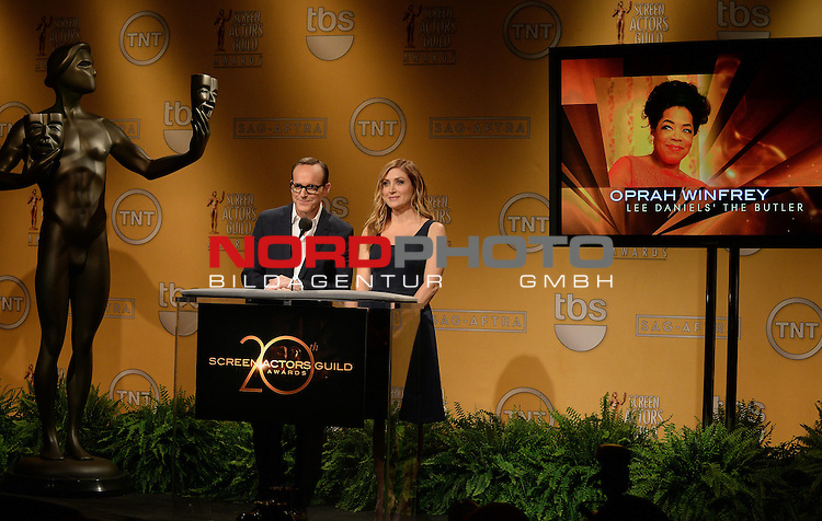 Clark Gregg and Sasha Alexander speak at the 20th Annual Screen Actors Guild Awards Nominations Announcement at Pacific Design Center on December 11, 2013 in Los Angeles, California.   <br /> Foto &copy;  nph / Pixsell <br /> ***** Attention only in GER *****